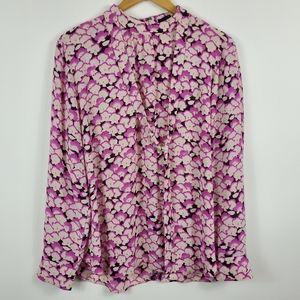 LOFT Ann Taylor Floral Print Tie Neck Blouse